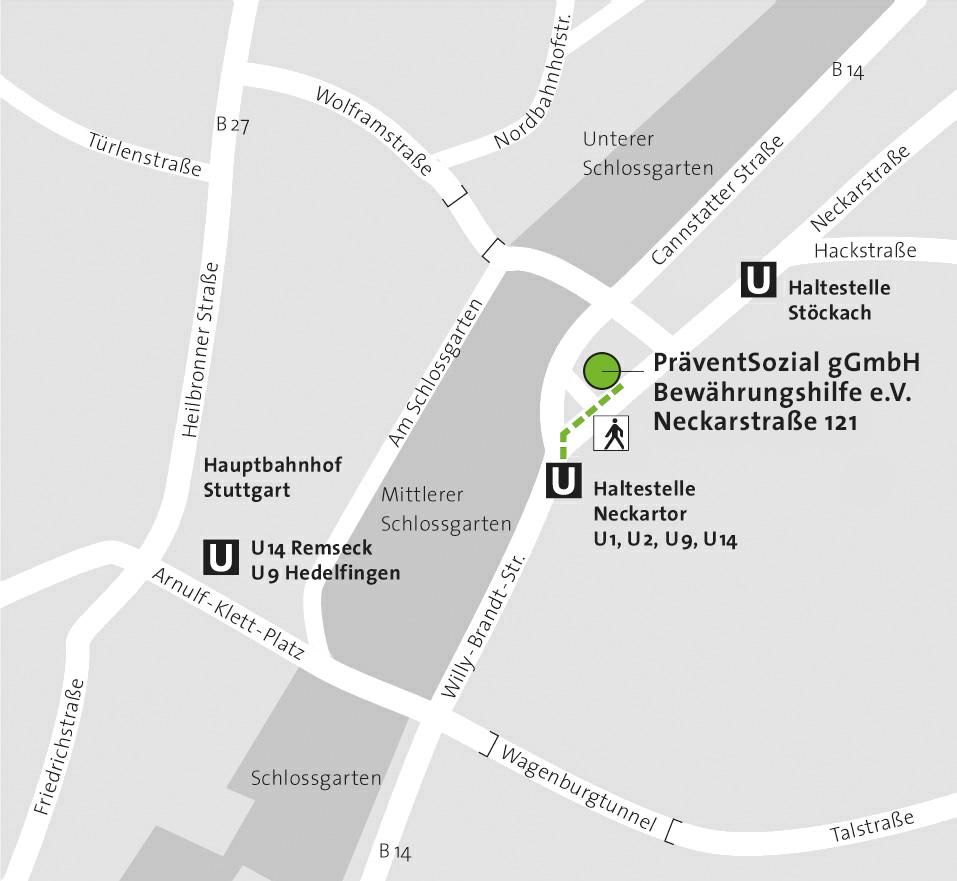 Präventsozial gGmbH & Bewährungshilfe Stuttgart e.V., Anfahrtsplan